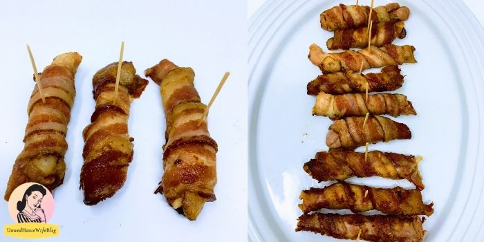 plating of bacon wrapped chicken